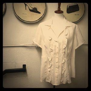Alfani silk blouse- 14W cream with ruffled front